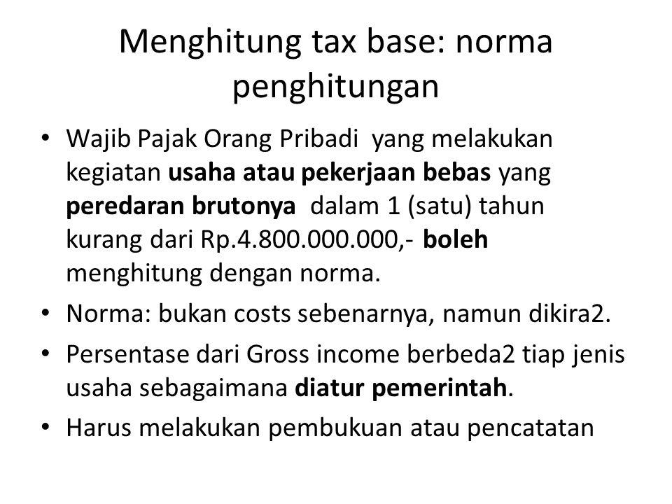 Menghitung tax base: norma penghitungan Wajib Pajak Orang Pribadi yang melakukan kegiatan usaha atau pekerjaan bebas yang peredaran brutonya dalam 1 (satu) tahun kurang dari Rp.4.800.000.000,- boleh menghitung dengan norma.
