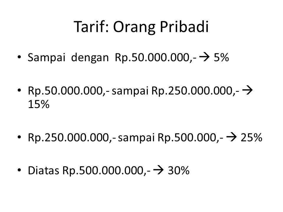 Tarif: Orang Pribadi Sampai dengan Rp.50.000.000,-  5% Rp.50.000.000,- sampai Rp.250.000.000,-  15% Rp.250.000.000,- sampai Rp.500.000,-  25% Diatas Rp.500.000.000,-  30%