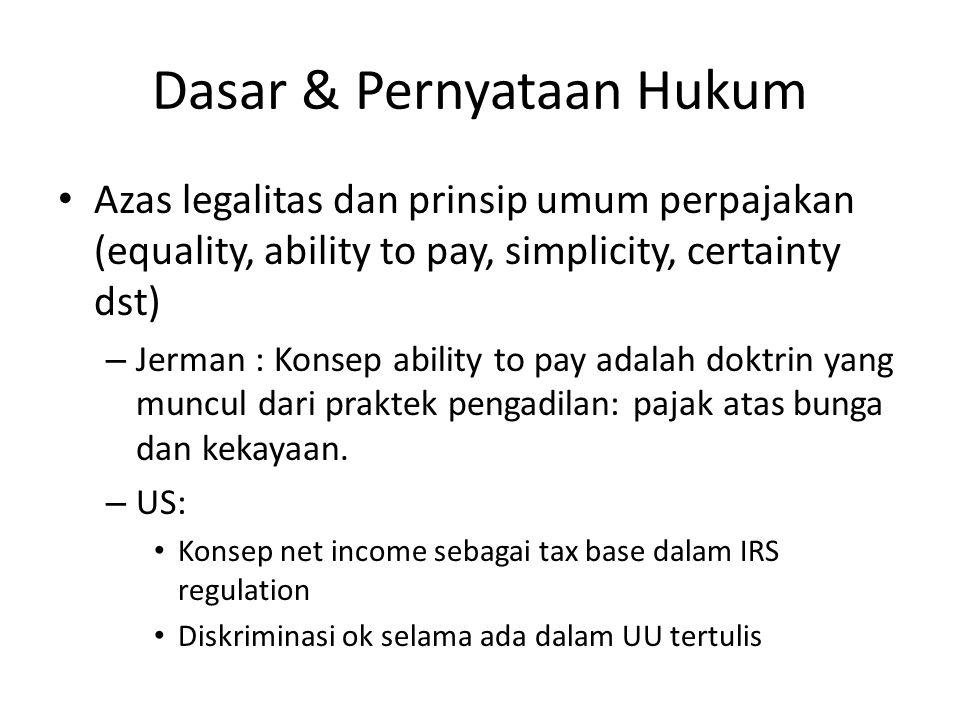 Dasar & Pernyataan Hukum Azas legalitas dan prinsip umum perpajakan (equality, ability to pay, simplicity, certainty dst) – Jerman : Konsep ability to