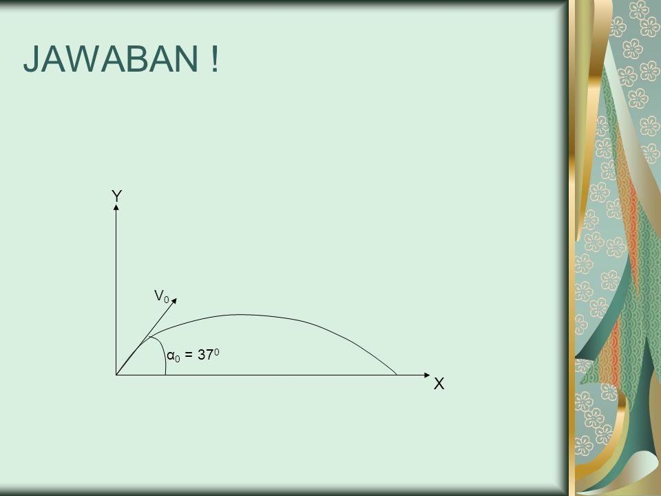 JAWABAN ! Y V0V0 α 0 = 37 0 X