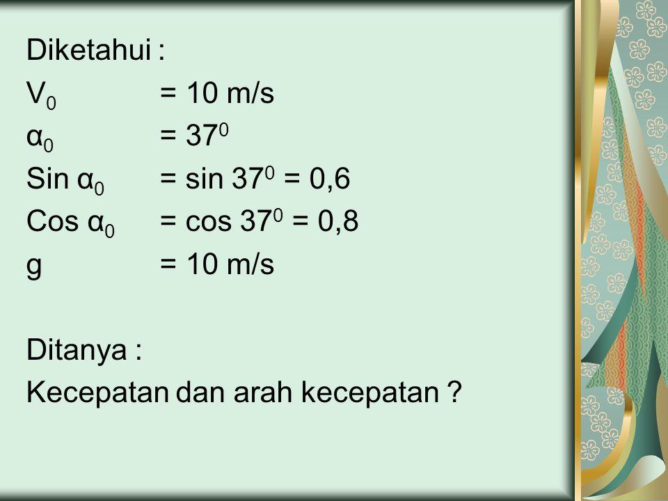 Diketahui : V 0 = 10 m/s α 0 = 37 0 Sin α 0 = sin 37 0 = 0,6 Cos α 0 = cos 37 0 = 0,8 g = 10 m/s Ditanya : Kecepatan dan arah kecepatan ?