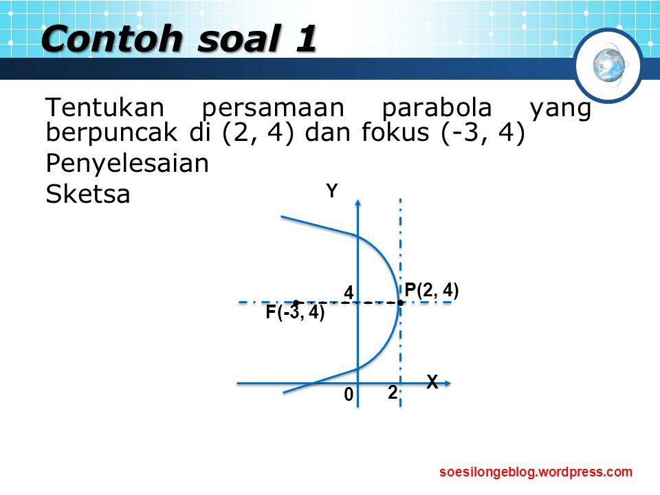 soesilongeblog.wordpress.com Contoh soal 1 Tentukan persamaan parabola yang berpuncak di (2, 4) dan fokus (-3, 4) Penyelesaian Sketsa P(2, 4) F(-3, 4)