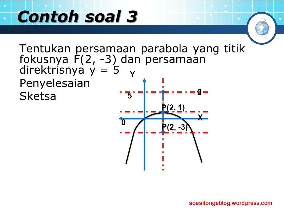 soesilongeblog.wordpress.com Contoh soal 3 Tentukan persamaan parabola yang titik fokusnya F(2, -3) dan persamaan direktrisnya y = 5 Penyelesaian Sket