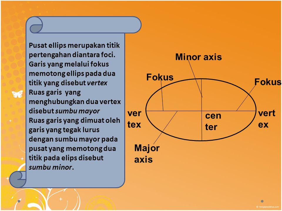 Pusat ellips merupakan titik pertengahan diantara foci.