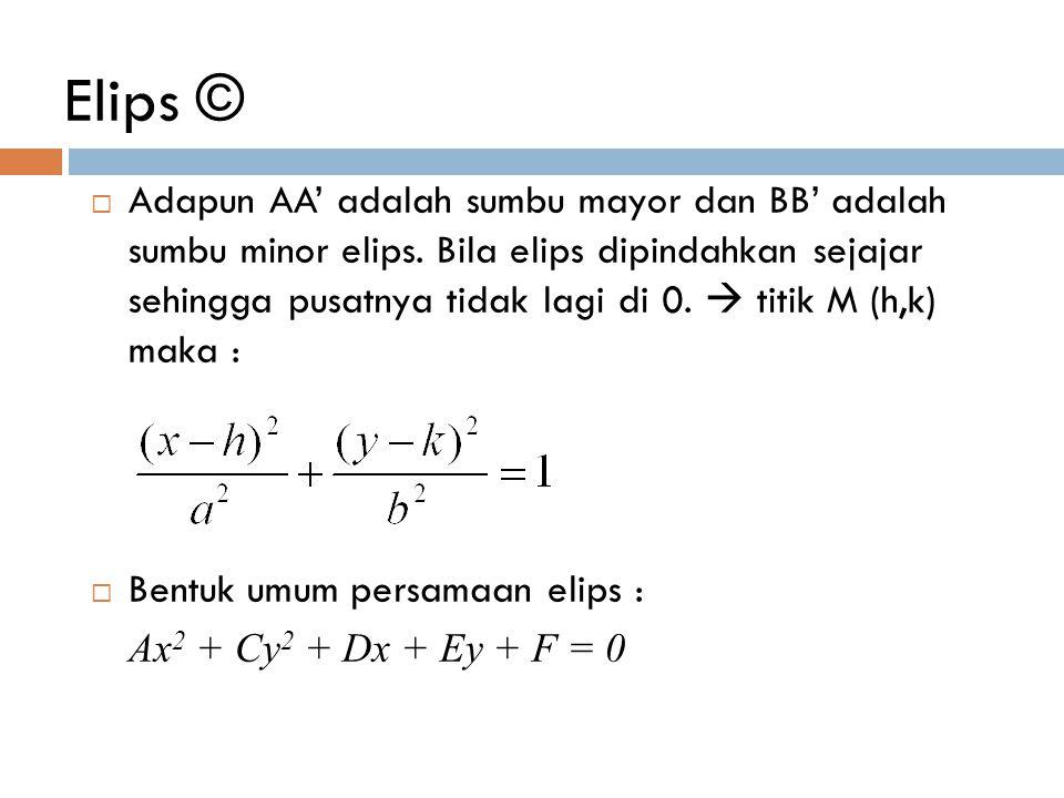 Elips ©  Adapun AA' adalah sumbu mayor dan BB' adalah sumbu minor elips. Bila elips dipindahkan sejajar sehingga pusatnya tidak lagi di 0.  titik M