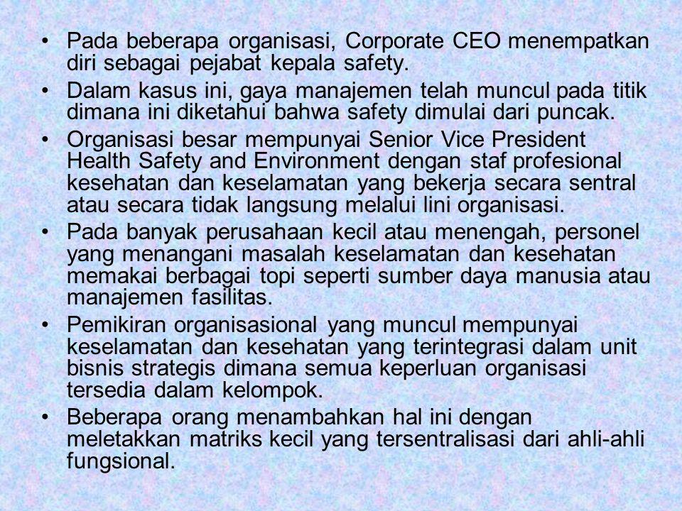 Pada beberapa organisasi, Corporate CEO menempatkan diri sebagai pejabat kepala safety.