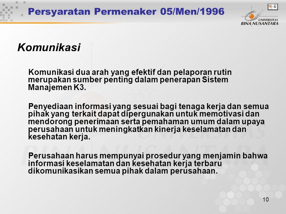 9 Persyaratan Permenaker 05/Men/1996 Konsultasi, Motivasi dan Kesadaran Pengurus harus menunjukkan komitmennya terhadap keselamatan dan kesehatan kerj