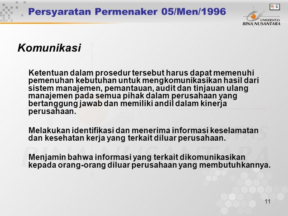 10 Persyaratan Permenaker 05/Men/1996 Komunikasi Komunikasi dua arah yang efektif dan pelaporan rutin merupakan sumber penting dalam penerapan Sistem