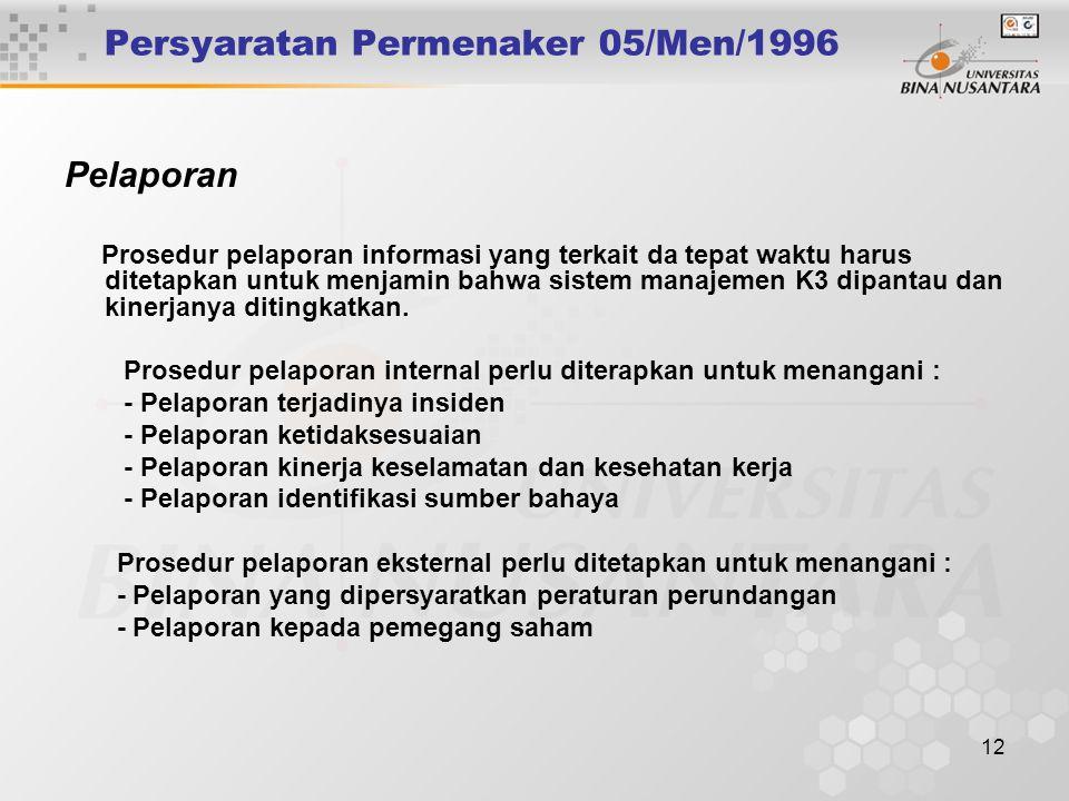 11 Persyaratan Permenaker 05/Men/1996 Komunikasi Ketentuan dalam prosedur tersebut harus dapat memenuhi pemenuhan kebutuhan untuk mengkomunikasikan ha