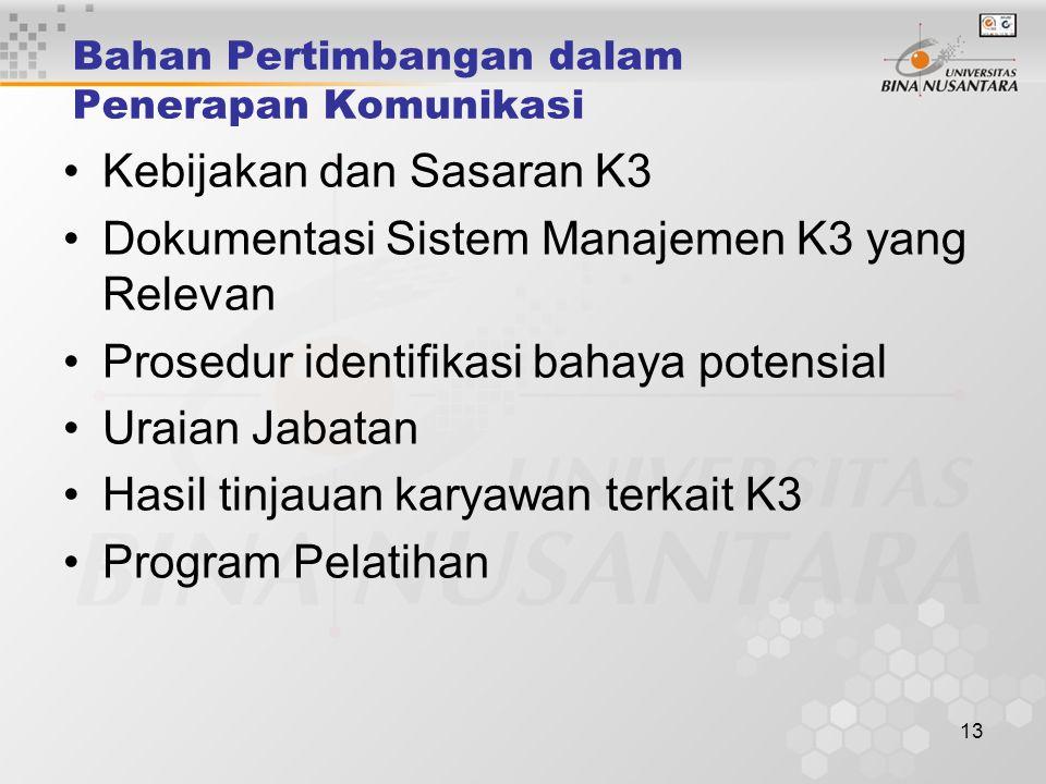 12 Persyaratan Permenaker 05/Men/1996 Pelaporan Prosedur pelaporan informasi yang terkait da tepat waktu harus ditetapkan untuk menjamin bahwa sistem