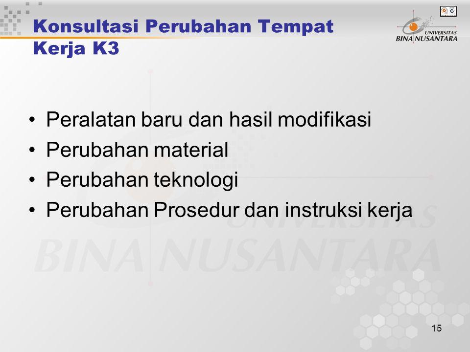 14 Program Konsultasi yang Melibatkan Karyawan Pengembangan dan tinjauan kebijakan Pengembangan dan tinjauan sasaran Keputusan pada penerapan proses d