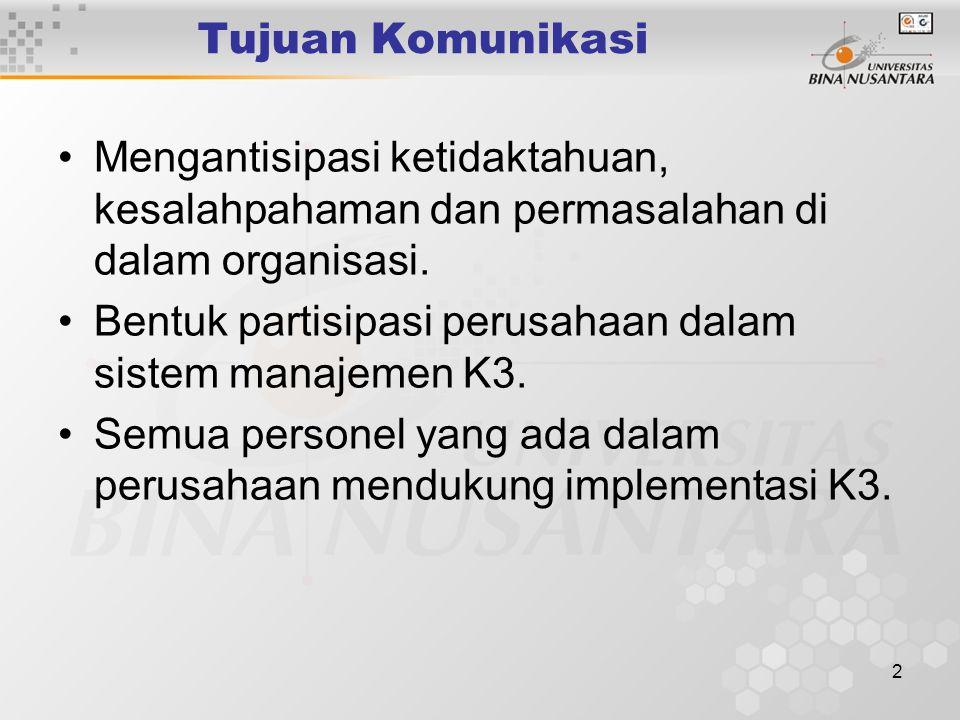 12 Persyaratan Permenaker 05/Men/1996 Pelaporan Prosedur pelaporan informasi yang terkait da tepat waktu harus ditetapkan untuk menjamin bahwa sistem manajemen K3 dipantau dan kinerjanya ditingkatkan.