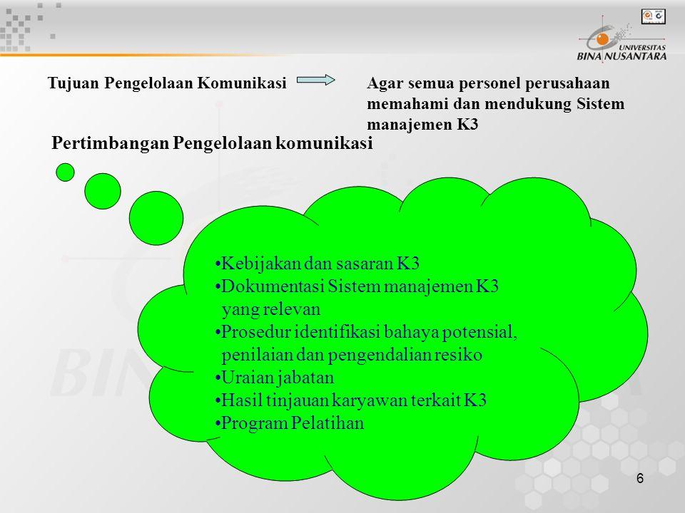 6 Tujuan Pengelolaan KomunikasiAgar semua personel perusahaan memahami dan mendukung Sistem manajemen K3 Pertimbangan Pengelolaan komunikasi Kebijakan dan sasaran K3 Dokumentasi Sistem manajemen K3 yang relevan Prosedur identifikasi bahaya potensial, penilaian dan pengendalian resiko Uraian jabatan Hasil tinjauan karyawan terkait K3 Program Pelatihan