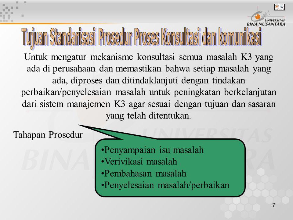 7 Untuk mengatur mekanisme konsultasi semua masalah K3 yang ada di perusahaan dan memastikan bahwa setiap masalah yang ada, diproses dan ditindaklanjuti dengan tindakan perbaikan/penyelesaian masalah untuk peningkatan berkelanjutan dari sistem manajemen K3 agar sesuai dengan tujuan dan sasaran yang telah ditentukan.