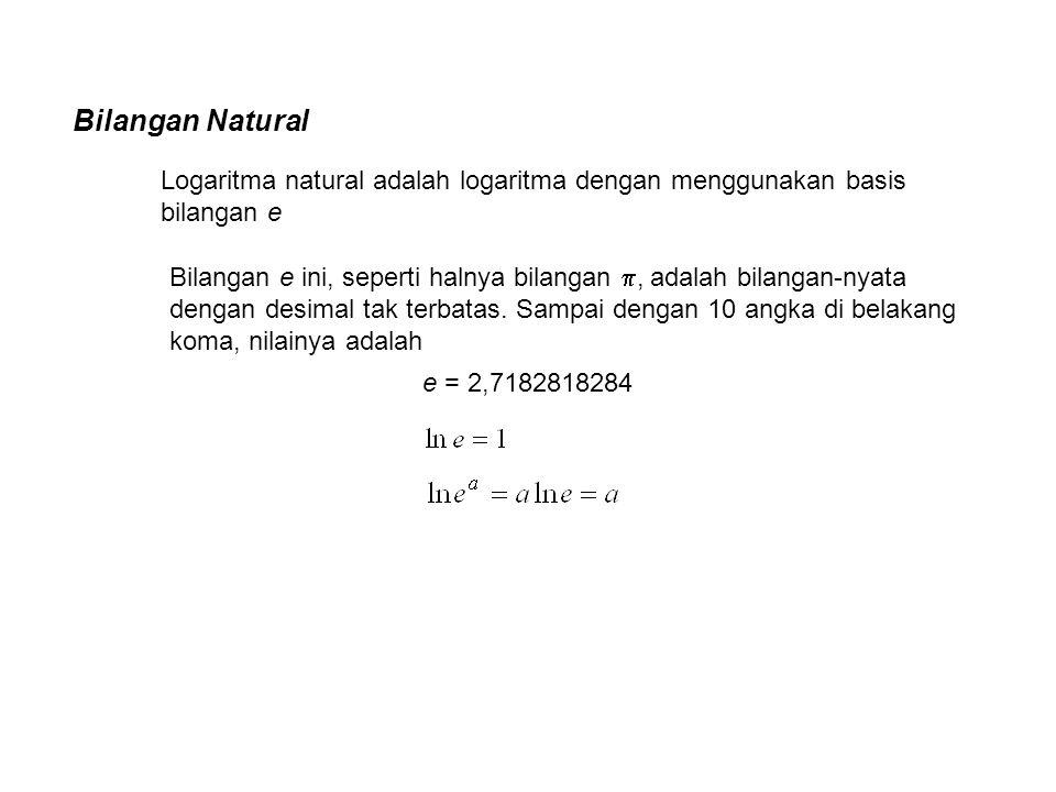 Bilangan Natural Logaritma natural adalah logaritma dengan menggunakan basis bilangan e Bilangan e ini, seperti halnya bilangan , adalah bilangan-nya
