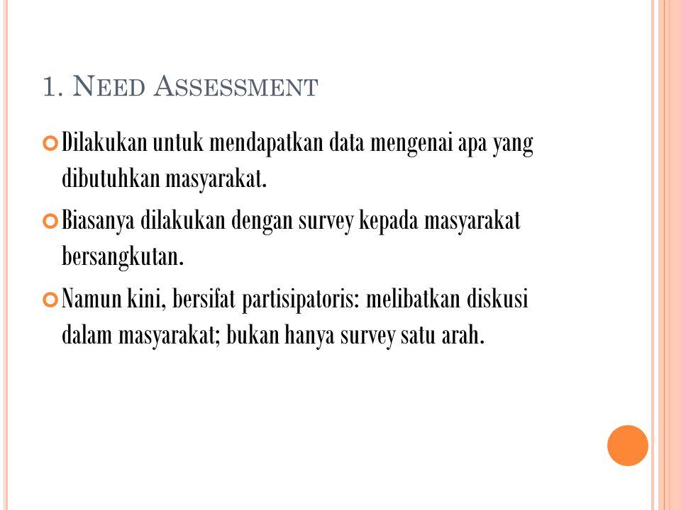 1. N EED A SSESSMENT Dilakukan untuk mendapatkan data mengenai apa yang dibutuhkan masyarakat.