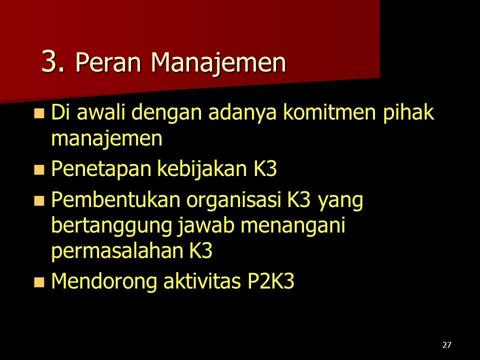 3. Peran Manajemen Di awali dengan adanya komitmen pihak manajemen Di awali dengan adanya komitmen pihak manajemen Penetapan kebijakan K3 Penetapan ke