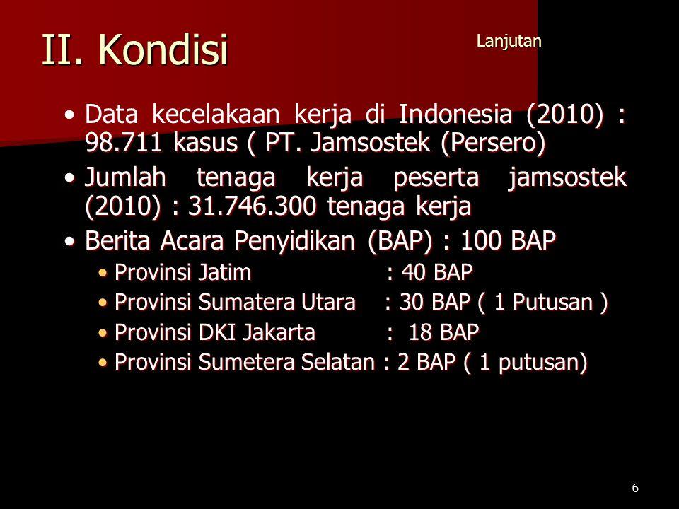 II. Kondisi Data kecelakaan kerja di Indonesia (2010) : 98.711 kasus ( PT. Jamsostek (Persero)Data kecelakaan kerja di Indonesia (2010) : 98.711 kasus