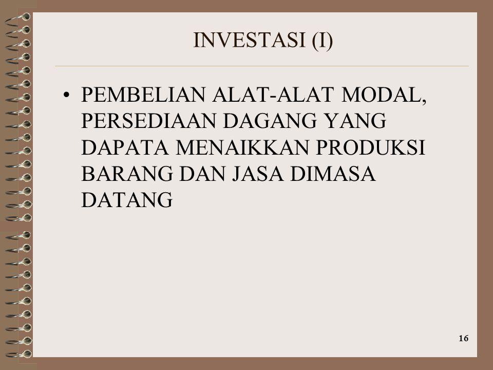 16 INVESTASI (I) PEMBELIAN ALAT-ALAT MODAL, PERSEDIAAN DAGANG YANG DAPATA MENAIKKAN PRODUKSI BARANG DAN JASA DIMASA DATANG
