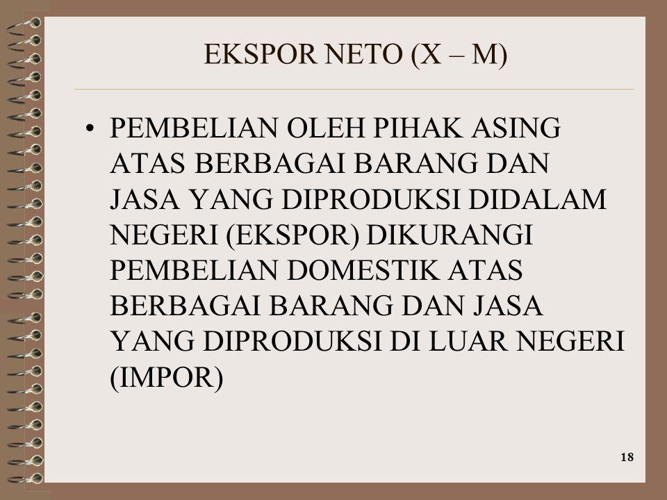 18 EKSPOR NETO (X – M) PEMBELIAN OLEH PIHAK ASING ATAS BERBAGAI BARANG DAN JASA YANG DIPRODUKSI DIDALAM NEGERI (EKSPOR) DIKURANGI PEMBELIAN DOMESTIK A