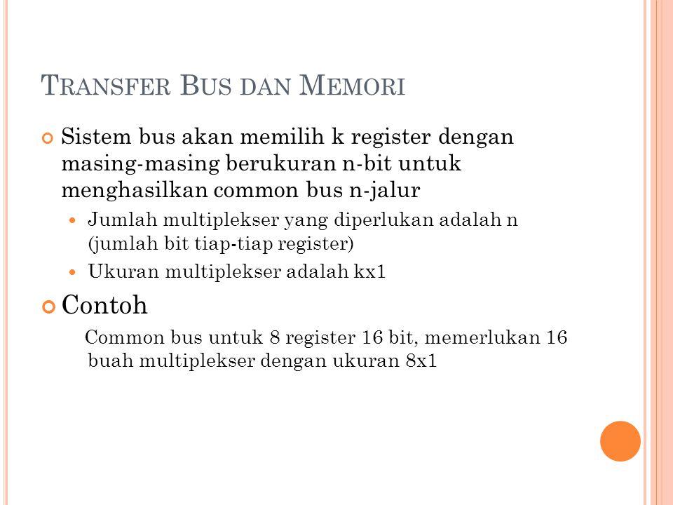 Sistem bus akan memilih k register dengan masing-masing berukuran n-bit untuk menghasilkan common bus n-jalur Jumlah multiplekser yang diperlukan adalah n (jumlah bit tiap-tiap register) Ukuran multiplekser adalah kx1 Contoh Common bus untuk 8 register 16 bit, memerlukan 16 buah multiplekser dengan ukuran 8x1