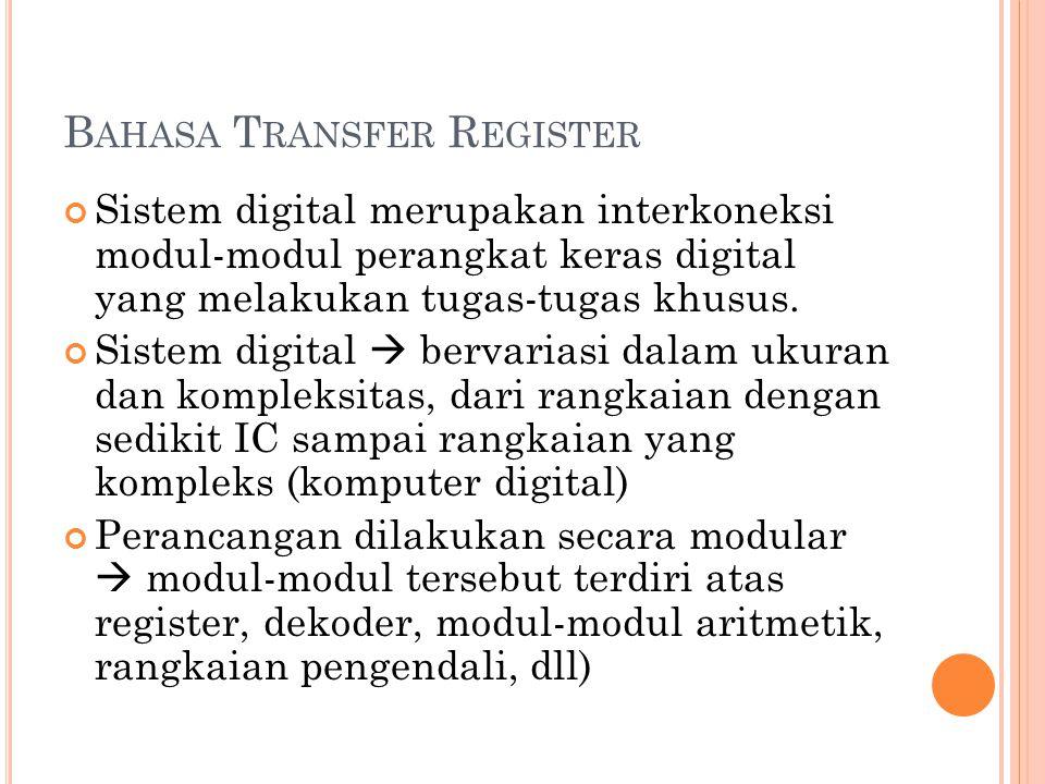 B AHASA T RANSFER R EGISTER Sistem digital merupakan interkoneksi modul-modul perangkat keras digital yang melakukan tugas-tugas khusus.
