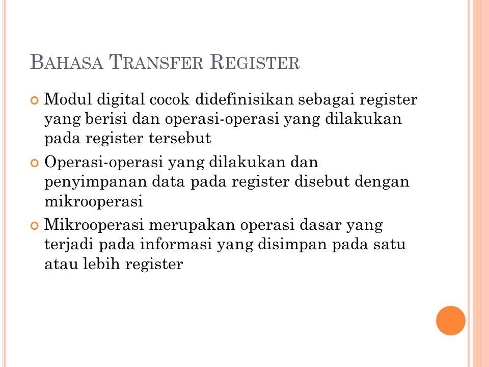 B AHASA T RANSFER R EGISTER Modul digital cocok didefinisikan sebagai register yang berisi dan operasi-operasi yang dilakukan pada register tersebut Operasi-operasi yang dilakukan dan penyimpanan data pada register disebut dengan mikrooperasi Mikrooperasi merupakan operasi dasar yang terjadi pada informasi yang disimpan pada satu atau lebih register