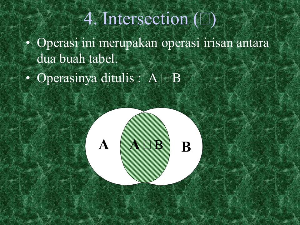 4.Intersection (  Operasi ini merupakan operasi irisan antara dua buah tabel.