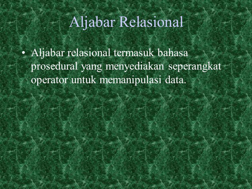 Aljabar Relasional Aljabar relasional termasuk bahasa prosedural yang menyediakan seperangkat operator untuk memanipulasi data.