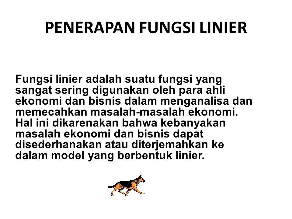 Fungsi linier adalah suatu fungsi yang sangat sering digunakan oleh para ahli ekonomi dan bisnis dalam menganalisa dan memecahkan masalah-masalah ekon
