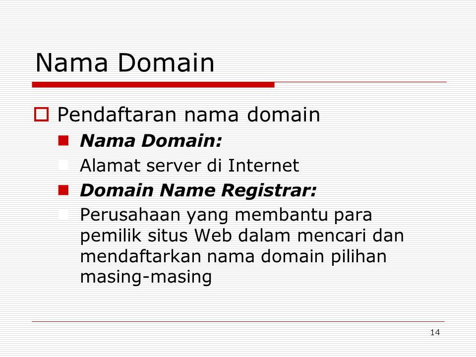 14 Nama Domain  Pendaftaran nama domain Nama Domain: Alamat server di Internet Domain Name Registrar: Perusahaan yang membantu para pemilik situs Web dalam mencari dan mendaftarkan nama domain pilihan masing-masing