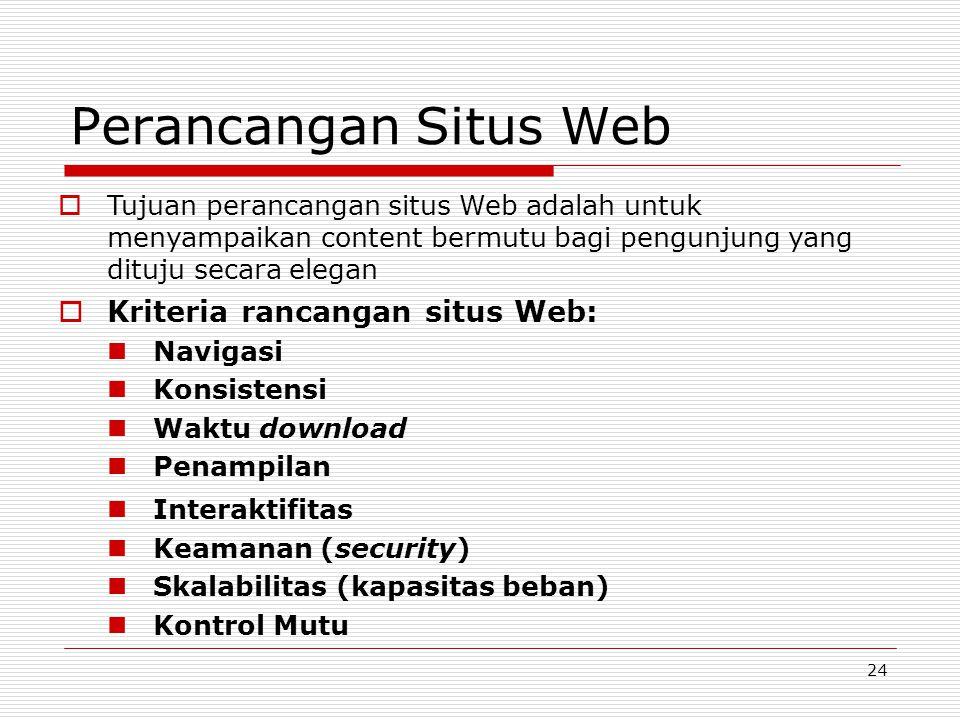 24 Perancangan Situs Web  Kriteria rancangan situs Web: Navigasi Konsistensi Waktu download Penampilan Interaktifitas Keamanan (security) Skalabilitas (kapasitas beban) Kontrol Mutu  Tujuan perancangan situs Web adalah untuk menyampaikan content bermutu bagi pengunjung yang dituju secara elegan