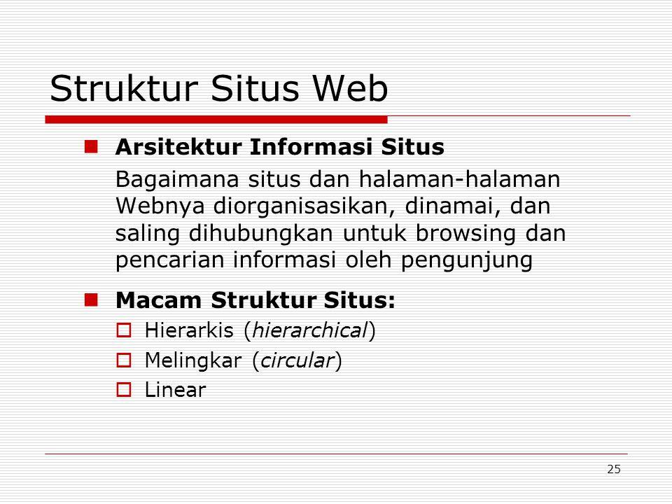25 Struktur Situs Web Arsitektur Informasi Situs Bagaimana situs dan halaman-halaman Webnya diorganisasikan, dinamai, dan saling dihubungkan untuk browsing dan pencarian informasi oleh pengunjung Macam Struktur Situs:  Hierarkis (hierarchical)  Melingkar (circular)  Linear