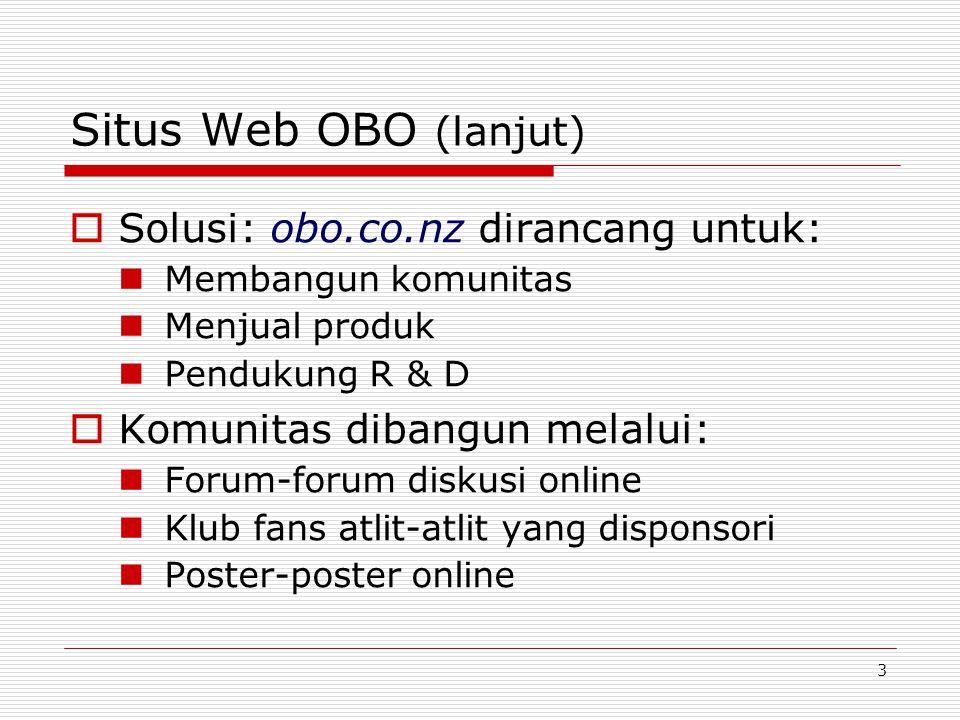 3 Situs Web OBO (lanjut)  Solusi: obo.co.nz dirancang untuk: Membangun komunitas Menjual produk Pendukung R & D  Komunitas dibangun melalui: Forum-forum diskusi online Klub fans atlit-atlit yang disponsori Poster-poster online