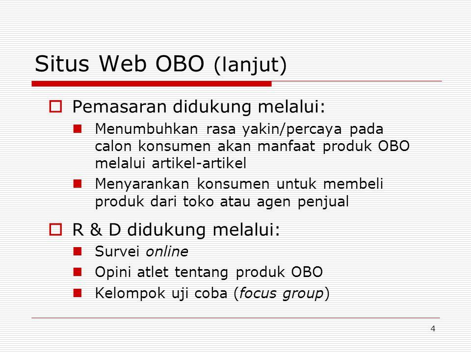 5 Situs Web OBO (lanjut)  OBO berhasil dalam membangun komunitas online  Penjualan online hanya untuk produk- produk khusus yang tidak dijual secara off line – tidak menyaingi agen penyalur  Forum diskusi menciptakan komunitas sekaligus sumber umpan-balik tentang produk OBO