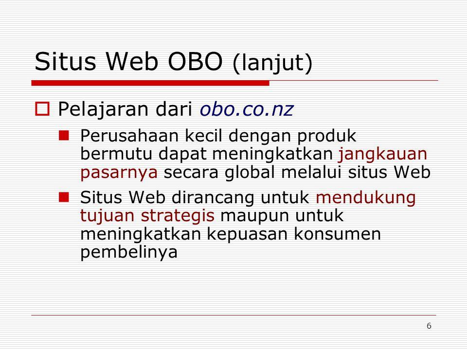 7 Situs Web OBO (lanjut)  Situs Web OBO sangat sederhana tetapi terancang dengan baik.