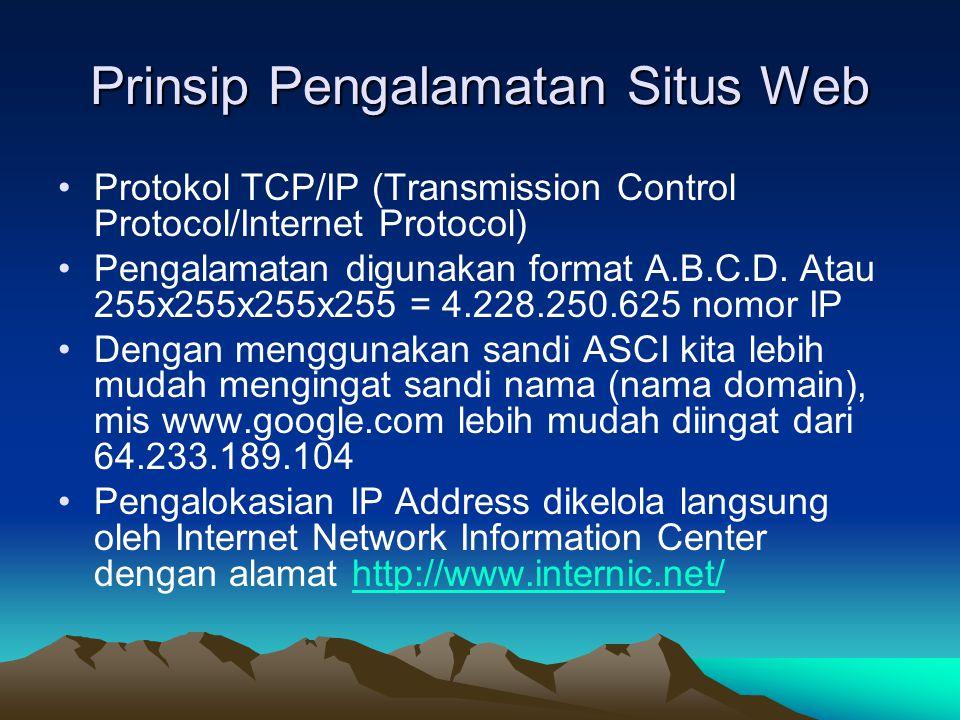 Prinsip Pengalamatan Situs Web Protokol TCP/IP (Transmission Control Protocol/Internet Protocol) Pengalamatan digunakan format A.B.C.D.