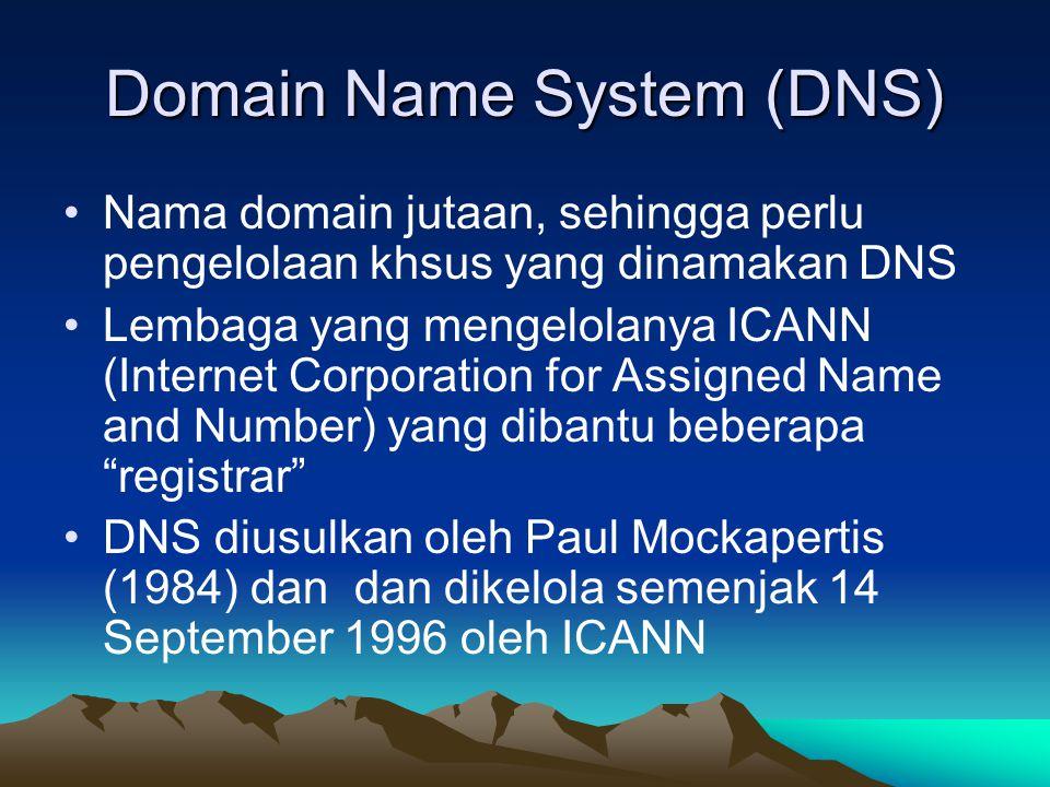 Domain Name System (DNS) Nama domain jutaan, sehingga perlu pengelolaan khsus yang dinamakan DNS Lembaga yang mengelolanya ICANN (Internet Corporation