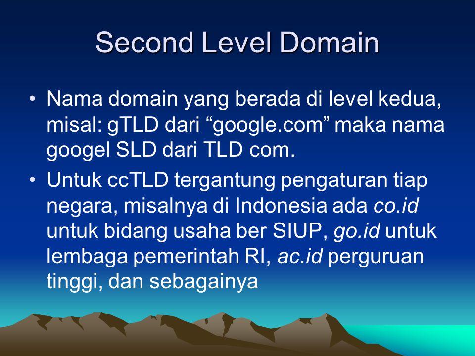 """Second Level Domain Nama domain yang berada di level kedua, misal: gTLD dari """"google.com"""" maka nama googel SLD dari TLD com. Untuk ccTLD tergantung pe"""