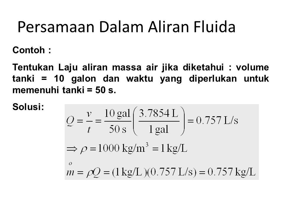 Persamaan Dalam Aliran Fluida Contoh : Tentukan Laju aliran massa air jika diketahui : volume tanki = 10 galon dan waktu yang diperlukan untuk memenuh