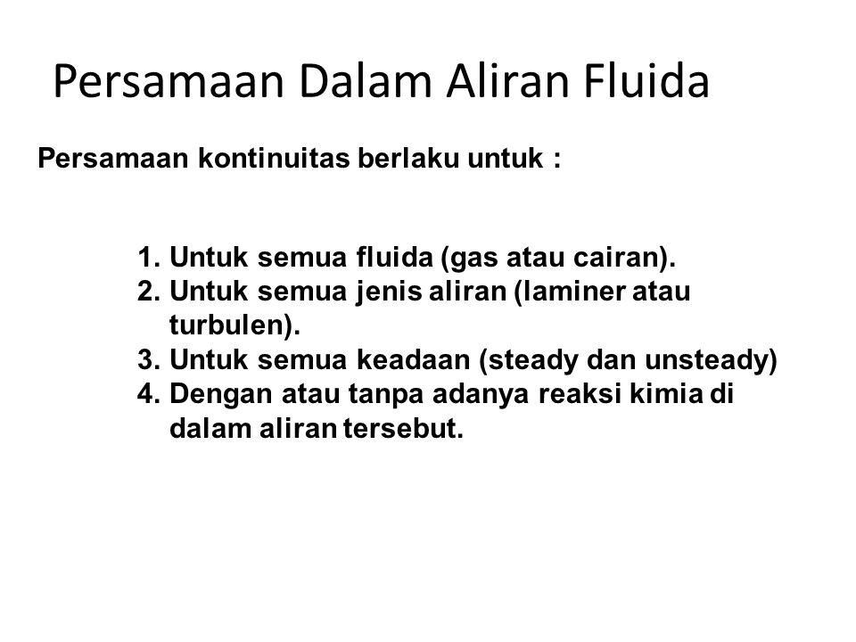 Persamaan Dalam Aliran Fluida 1.Untuk semua fluida (gas atau cairan). 2.Untuk semua jenis aliran (laminer atau turbulen). 3.Untuk semua keadaan (stead