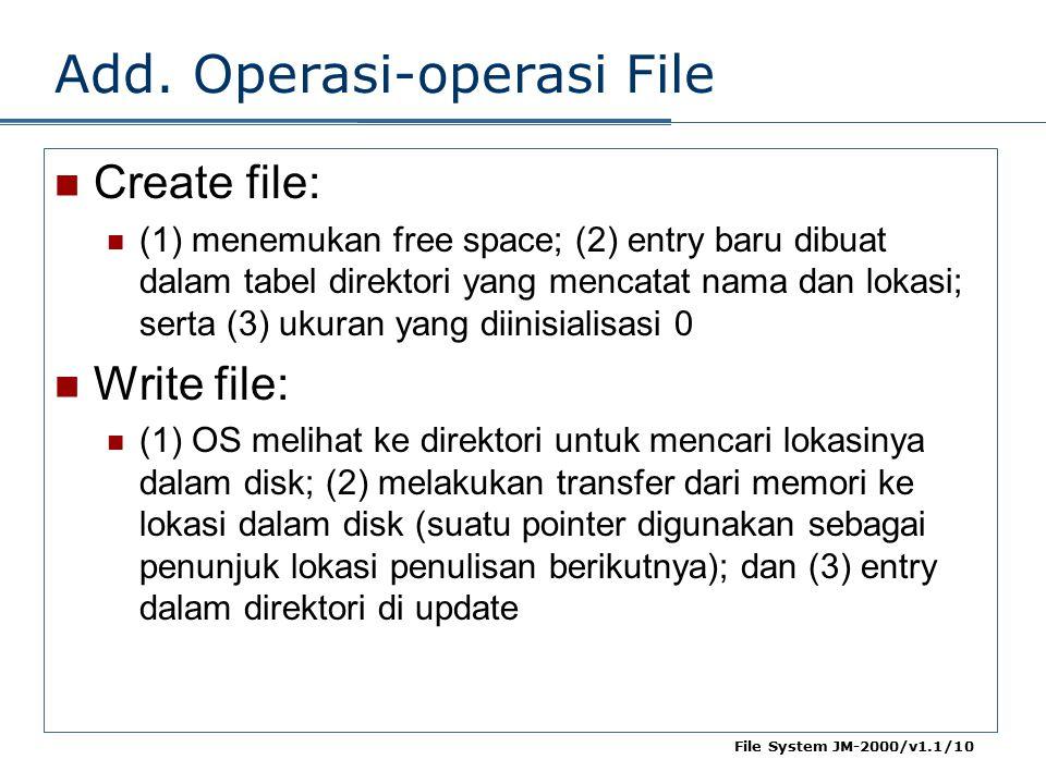 File System JM-2000/v1.1/10 Add. Operasi-operasi File Create file: (1) menemukan free space; (2) entry baru dibuat dalam tabel direktori yang mencatat