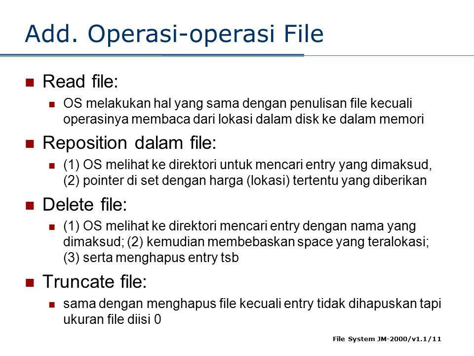File System JM-2000/v1.1/11 Add. Operasi-operasi File Read file: OS melakukan hal yang sama dengan penulisan file kecuali operasinya membaca dari loka