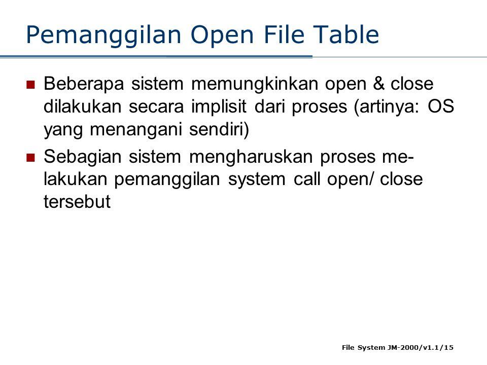 File System JM-2000/v1.1/15 Pemanggilan Open File Table Beberapa sistem memungkinkan open & close dilakukan secara implisit dari proses (artinya: OS y