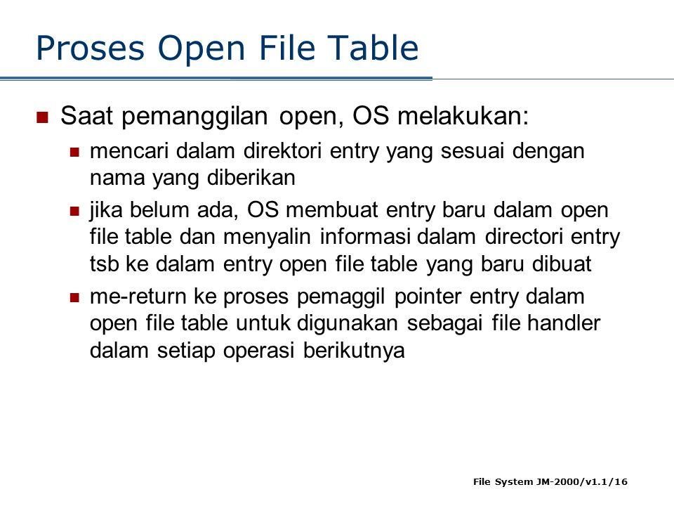 File System JM-2000/v1.1/16 Proses Open File Table Saat pemanggilan open, OS melakukan: mencari dalam direktori entry yang sesuai dengan nama yang diberikan jika belum ada, OS membuat entry baru dalam open file table dan menyalin informasi dalam directori entry tsb ke dalam entry open file table yang baru dibuat me-return ke proses pemaggil pointer entry dalam open file table untuk digunakan sebagai file handler dalam setiap operasi berikutnya