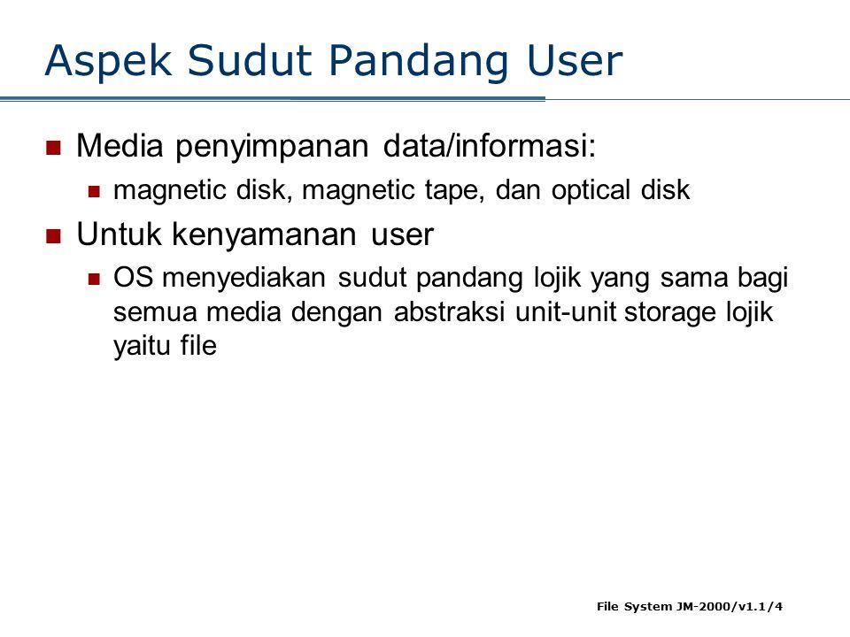 File System JM-2000/v1.1/4 Aspek Sudut Pandang User Media penyimpanan data/informasi: magnetic disk, magnetic tape, dan optical disk Untuk kenyamanan user OS menyediakan sudut pandang lojik yang sama bagi semua media dengan abstraksi unit-unit storage lojik yaitu file