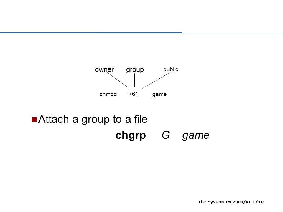 File System JM-2000/v1.1/40 ownergroup public chmod 761 game Attach a group to a file chgrp G game