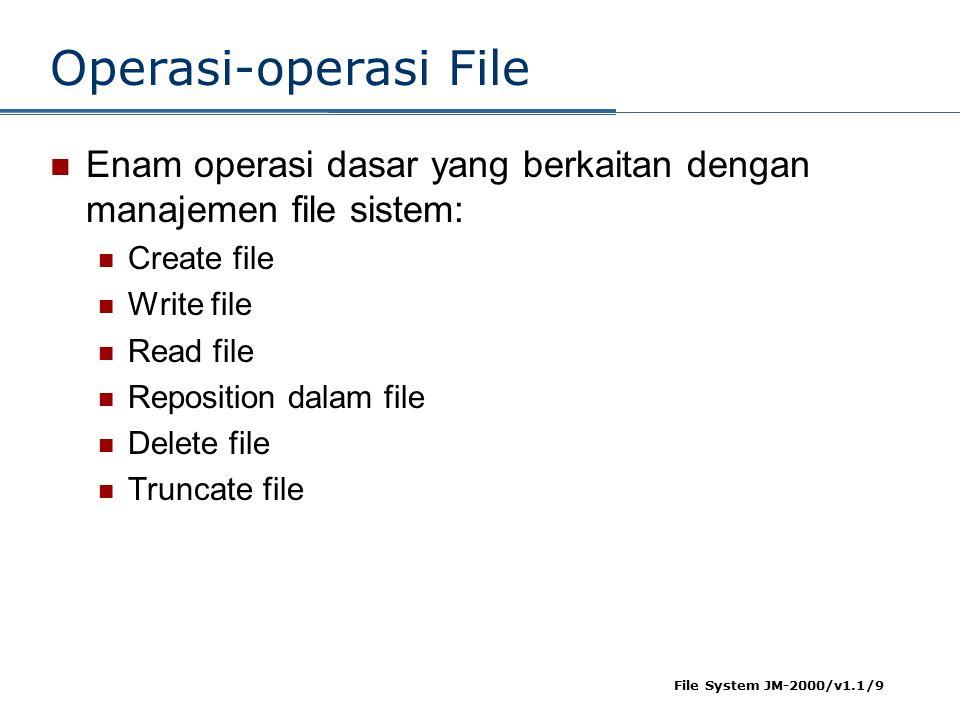 File System JM-2000/v1.1/9 Operasi-operasi File Enam operasi dasar yang berkaitan dengan manajemen file sistem: Create file Write file Read file Reposition dalam file Delete file Truncate file