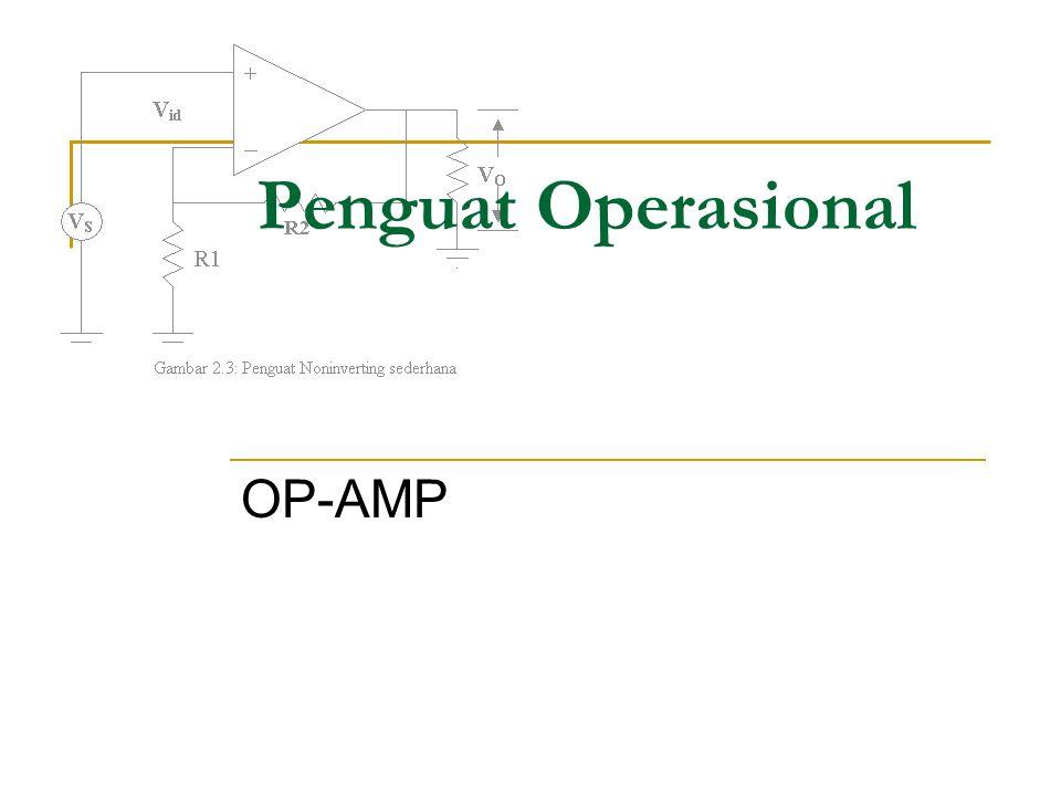 Penguat Operasional atau disingkat Op- amp adalah merupakan sutu penguat differensial berperolehan sangat tinggi yang terterkopel DC langsung, yang dilengkapi dengan umpan balik untuk mengendalikan karakteristik tanggapannya secara menyeluruh