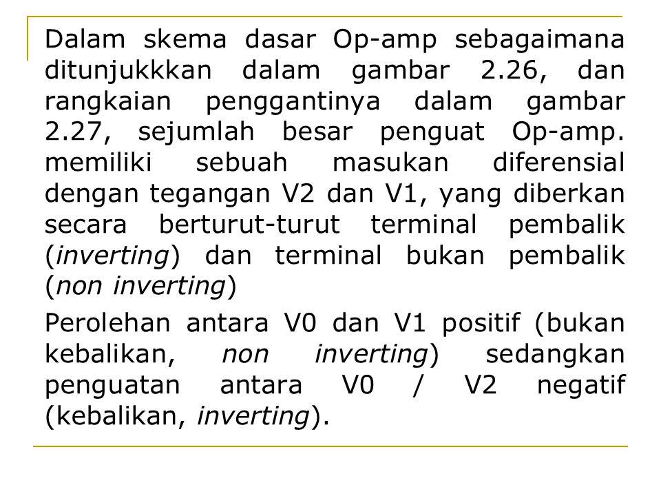 Dalam skema dasar Op-amp sebagaimana ditunjukkkan dalam gambar 2.26, dan rangkaian penggantinya dalam gambar 2.27, sejumlah besar penguat Op-amp. memi